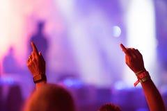 Folkmassa av bifallfolk som tycker om en levande konsert Arkivbilder
