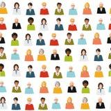 Folkmassa av den sömlösa modellen för färglägenhetfolk royaltyfri illustrationer