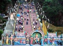 Folkmassa av en indisk tempel Arkivfoto