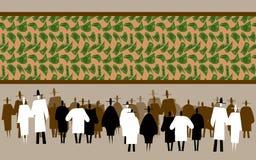 Folkmassa av för flygpengar för folk hållande ögonen på panorama stock illustrationer