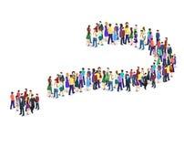 Folkmassa av folk i form av en frågefläck vektor illustrationer