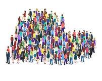 Folkmassa av folk i formen av en hjärta Arkivbilder