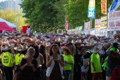 Folkmassa av folk på cincoen de mayo arkivbild