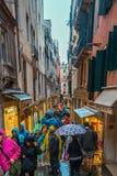 Folkmassa av folk på gatan i Venedig Arkivfoton