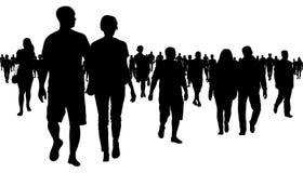 Folkmassa av folk som går konturn stock illustrationer