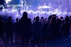 Folkmassa av folk som tycker om en elektronisk konsert på en festival Royaltyfria Foton