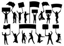 Folkmassa av folkkonturuppsättningen Baner stordia, flagga Konsert sport, parti, demonstration vektor illustrationer