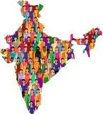 Folkmassa av indiska kvinnavektoravatars Royaltyfri Foto