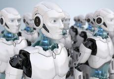 Folkmassa av robotar royaltyfri illustrationer