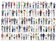 Folkmassa C för gemenskap för lycka för beröm för folkmångfaldframgång royaltyfri bild