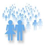 Folkmassa i blått Arkivfoton