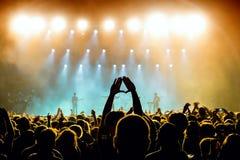 Folkmassa i en konsert på Vida Festival Royaltyfria Bilder