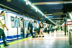 Folkmassa i tunnelbana Arkivbild