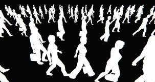 folkmassa 4k av folk som går, vit affärsmankontur i svart bakgrund lager videofilmer