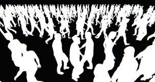 folkmassa 4k av folk som går, vit affärsmankontur i svart bakgrund stock video