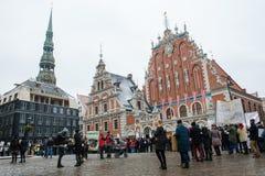 Folkmassa med demonstranter, på den Riga staden Hall Square, under 'mars för djur i Riga, Lettland arkivbild