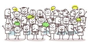Folkmassa och lycka royaltyfri illustrationer