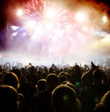 Folkmassa på konserten Fotografering för Bildbyråer