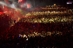 Folkmassa som har gyckel i en stadion Royaltyfri Bild