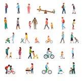 Folkmassan av folk som utför utomhus- aktiviteter för sommar - gå och att rida cykeln som skateboarding Grupp av mannen och kvinn royaltyfri illustrationer