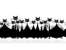 Folkmassan av svart katter som är seamless mönstrar för ditt Arkivbild