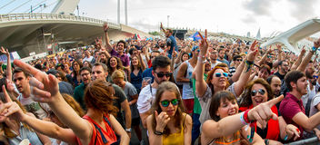 Folkmassan på festivalen de les Konst Arkivfoto