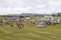 Folkmassor som håller ögonen på den lantliga rodeon arkivfoto