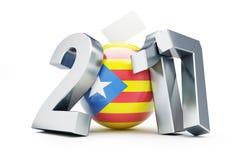 Folkomröstning i Catalonia 2017 på en vit illustration för bakgrund 3D, tolkning 3D Royaltyfri Bild