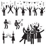 Folkpartisymboler B&W Royaltyfri Illustrationer