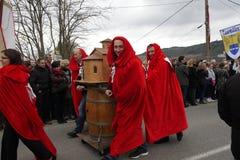 Folkprocession under festival i Auden Royaltyfri Fotografi