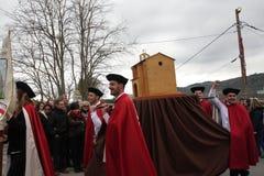 Folkprocession under festival i Auden Fotografering för Bildbyråer