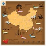 Folkrepubliken Kina gränsmärkeaffär och lopp Infograp Royaltyfri Fotografi
