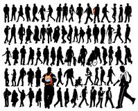 Folks. Big set of silhouette, ordinary people in move Royalty Free Stock Image