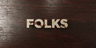 Folks - grungy wooden headline on Maple  - 3D rendered royalty free stock image Stock Photos