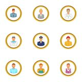 Folks icons set, cartoon style Royalty Free Stock Photos