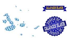 Folksammansättning av den mosaiska översikten av Galapagos öar och Grungeskyddsremsastämpeln royaltyfri illustrationer