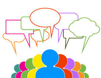 Folksamtal i färgrika anförandebubblor Arkivfoton