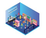 Folkshopping i en mat Mart Isometric Artwork vektor illustrationer