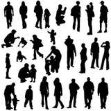 folksilhouettes royaltyfri illustrationer