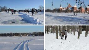 Folkskridsko på is i vinter Issurfare skämtsamma par stock video