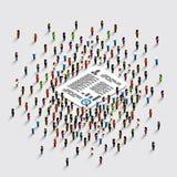 Folkställning runt om dokumentet stock illustrationer