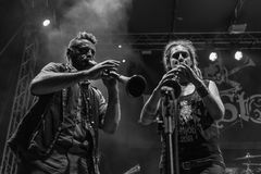 Folkstone @ Malpaga Sounds 2018. Bergamo, Italy - August 03, 2018: The Italian folk rock band Folkstone performs at Malpaga Sound in Malpaga BG. Brambilla Simone Stock Images