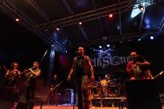 Folkstone @ Malpaga Sounds 2018. Bergamo, Italy - August 03, 2018: The Italian folk rock band Folkstone performs at Malpaga Sound in Malpaga BG. Brambilla Simone Stock Photography