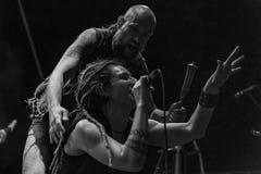 Folkstone @ Malpaga Sounds 2018. Bergamo, Italy - August 03, 2018: The Italian folk rock band Folkstone performs at Malpaga Sound in Malpaga BG. Brambilla Simone Royalty Free Stock Photo
