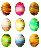 Folksy Dyed Easter Eggs Clip Art Stock Image