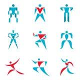 Folktecken - idérik vektorsamling Människadiagram - vektorsymbolsuppsättning Mänsklig vektorlogo Vektorlogomall Fotografering för Bildbyråer