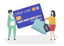 Folktecken och illustration för kreditkortskuldbegrepp royaltyfri illustrationer