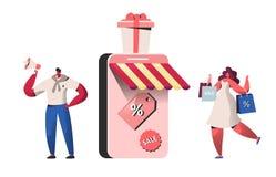 Folktecken som köper i online-lager- och smartphoneskärm Websiteshopping, mobilt marknadsföra begrepp, e-kommers stock illustrationer
