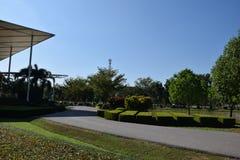 folkträdgård och himmelmoln och byggnad Arkivfoton