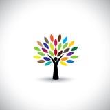 Folkträdsymbol med färgrika sidor - ecobegreppsvektor Arkivfoton